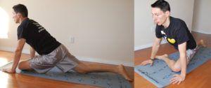 Front leg glute stretch oefening op matje in kamer