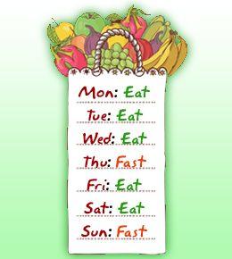vasten dieet schema