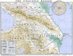 Een kaart van het Kaukasusgebergte
