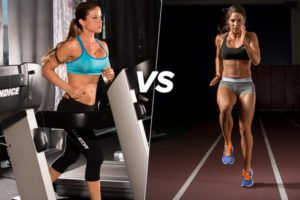 sportieve vrouw op loopband vs. gespierde vrouw die intervalsessies doet