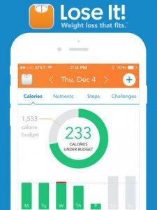 Screenshot van Lose It! calorieteller app op smartphone