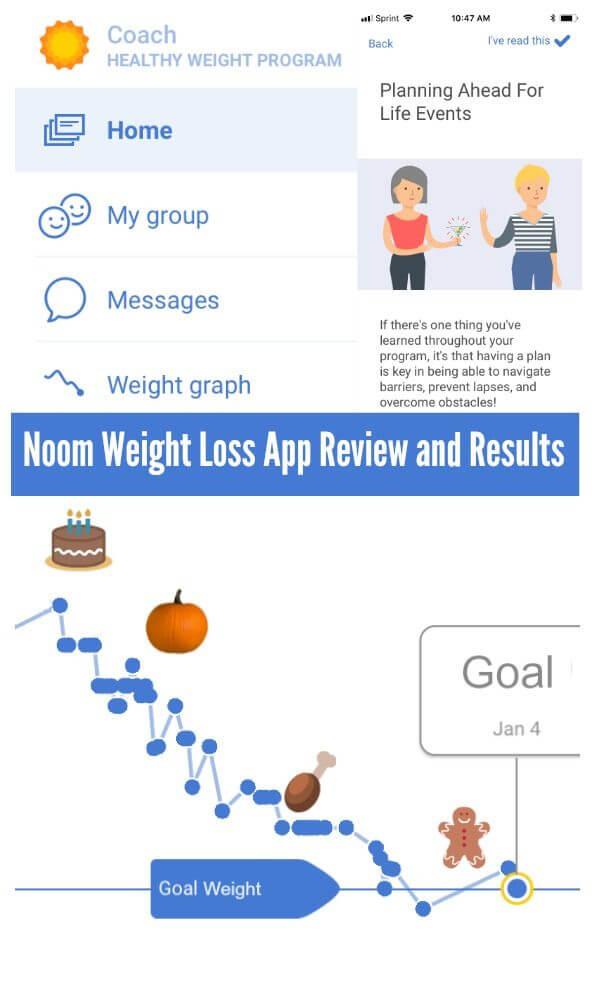 Noom health en weight dieet app weergave