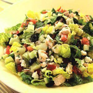 Romeinse salade met kip
