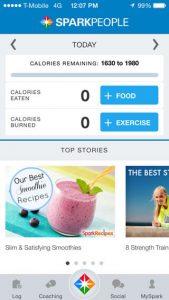 application calories SparkPeople