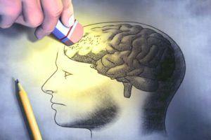 tekening van een brein waarvan de het hoofd wordt weggegumd