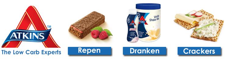 Atkins producten zoals repen, dranken en crackers