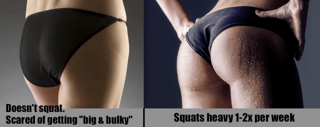 billen van een vrouw die doet squatten versus een vrouw die niet doet squatten