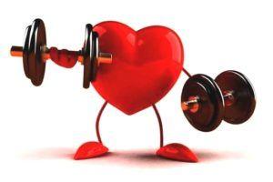 illustratie van hart dat aan gewichtheffen doet