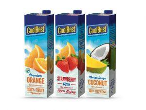 Coolbest verpakkingen orange, strawberry en coconut