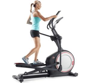 Sportende vrouw fietst op ProForm 420i Front Drive Ergometer