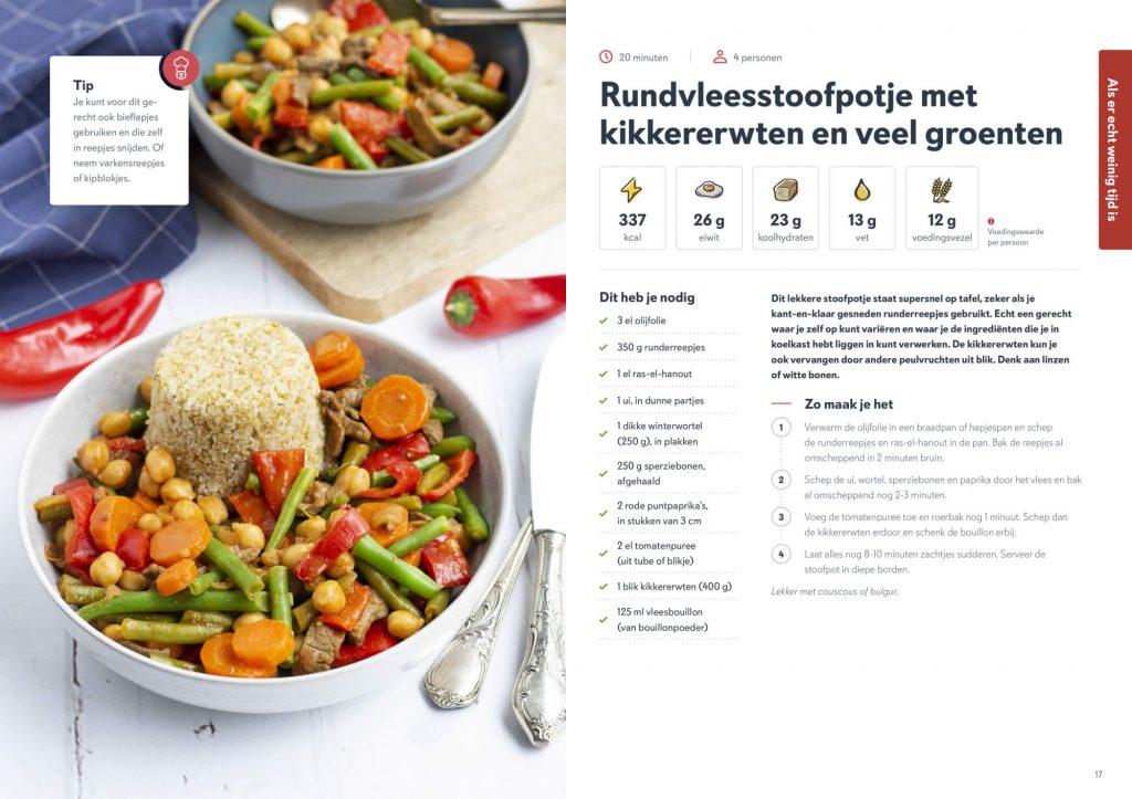 Rundvleesstoofpotje met kikkererwten en groenten recept uit boek Fitchef Family