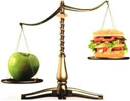 weegschaal met een appel aan de linkerkant en een hamburger aan de rechterkant