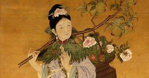 Oud schilderij van een Chinees die een CBD plant vasthoudt