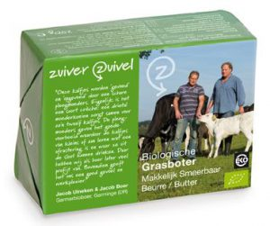 grasboter product in groene verpakking