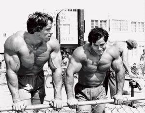 Bodybuilders Arnold Schwarzenegger en Franco Columbu