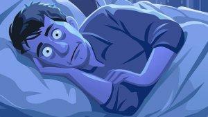 dessin d'un homme souffrant d'insomnie