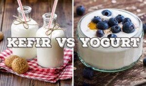 kefir versus yoghurt vergelijkingsfoto