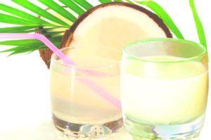 kokosmelk en kokoswater in 2 glazen