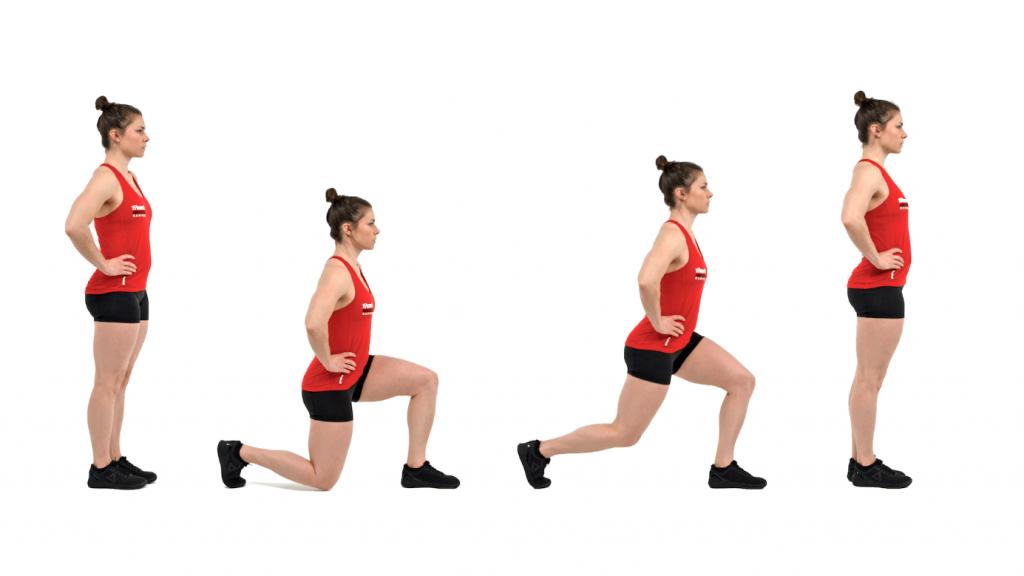 Vrouw in sportkleding doet lunge oefening in verschillende posities