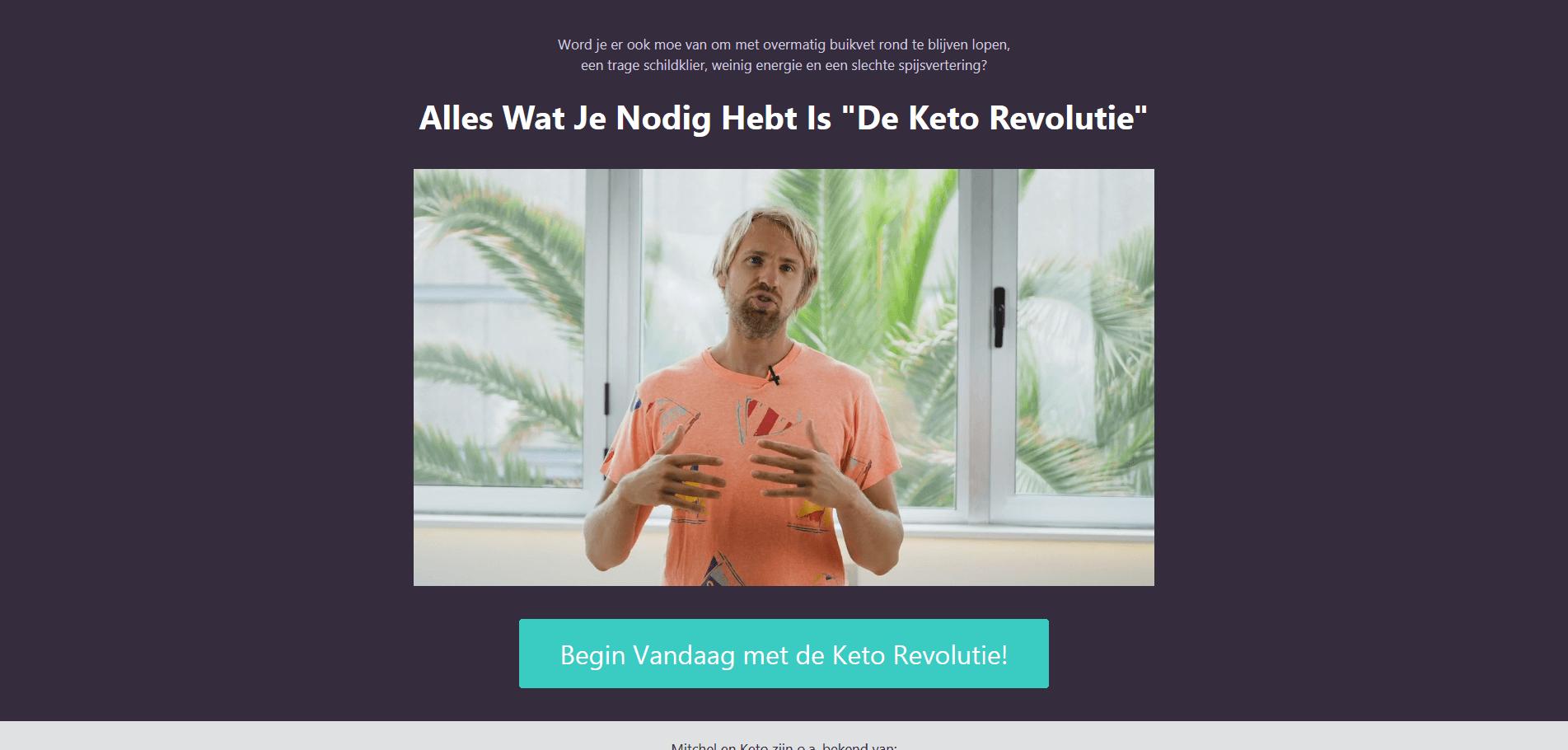 Screenshot van de salespage van Keto Revolutie