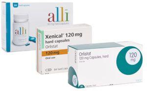 Orlistat (merknamen Xenical of Alli) verpakkingen langs elkaar