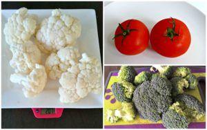 bloemkool, broccoli en tomaten op verschillende borden