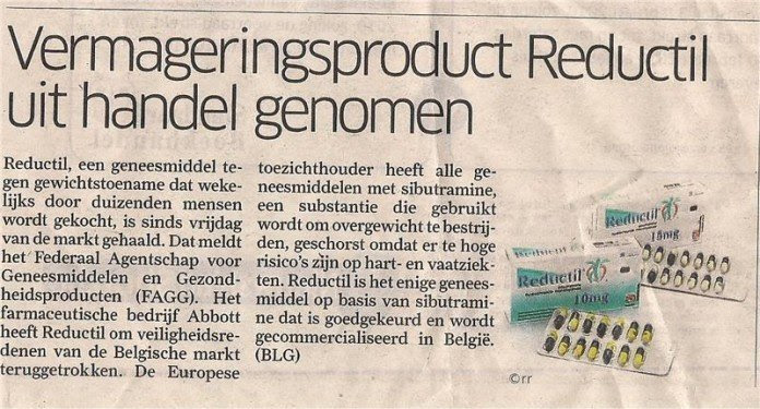 Krantenartikel over dat Reductil uit de handel is genomen