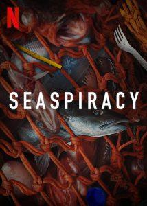 Poster van Seaspiracy waarin vissen gevangen zijn in een visnet