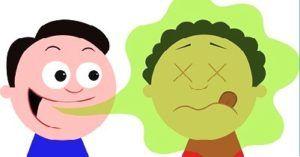 illustratie van iemand met een slechte adem