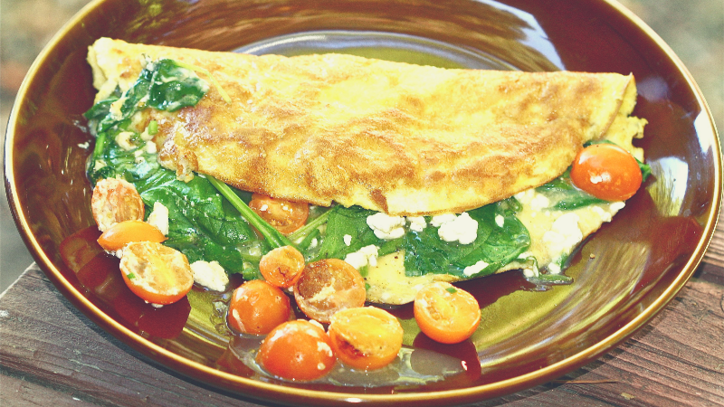 Omeletto: spinazie-omelet met Cherry's