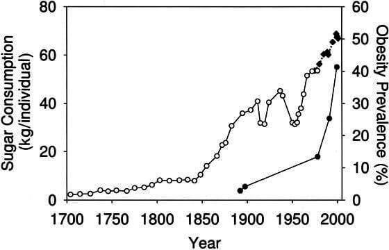 correlatie tussen suiker in voeding en obesitas