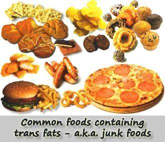 Verschillende voedingsproducten die transvetten bevatten