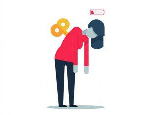 illustratie van vrouw die vermoeid is